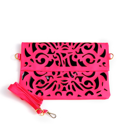 Pink Hollow Out Magnetic Closure Crossbody Bag