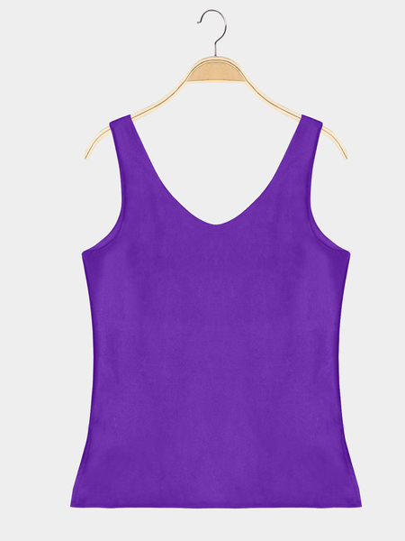 Buy Casual Purple Color Deep V Neck Vest Daily