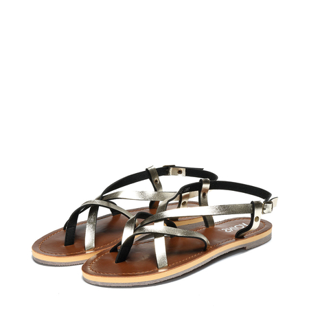 Gold Simple Strappy Flat Sandals