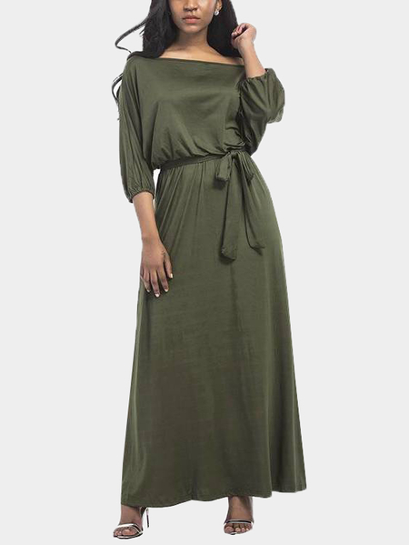 Green Off Shoulder Round Neck Maxi Dress with Sash-tie