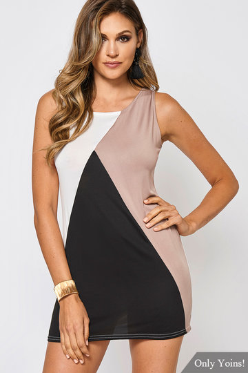 Round Neck Sleeveless Contrast Color Mini Dress