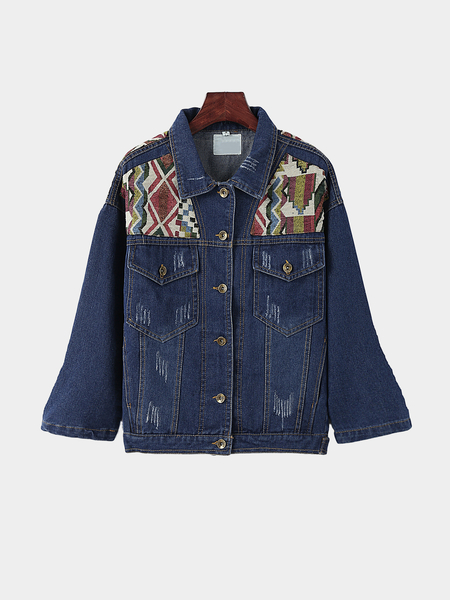 Vintage Classic Collar Embroidery Pattern Loose Denim Jacket