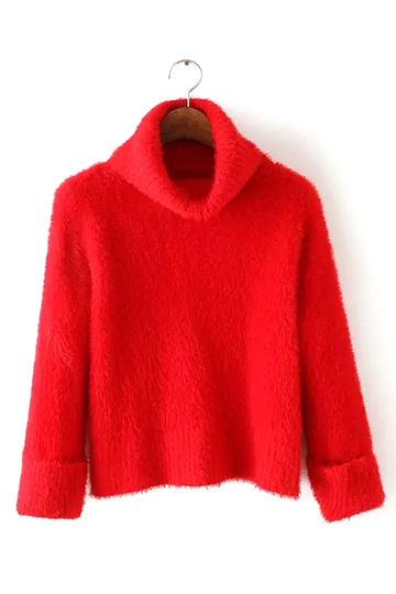 Turtle Neck Sweater in Red