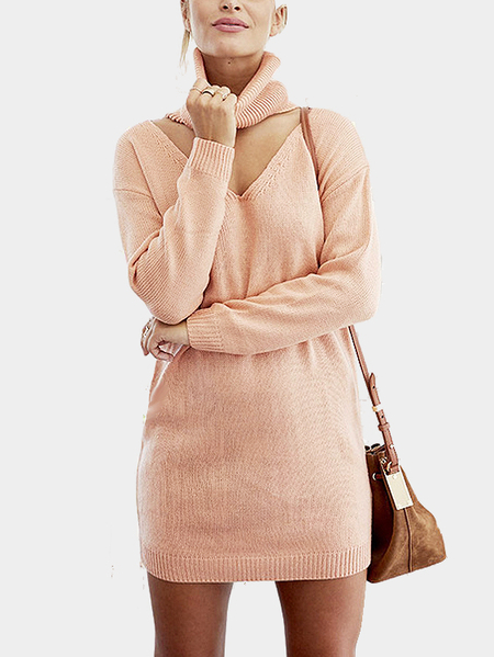 Nude Long Sleeves Sexy V-neck Sweater Dress withChoker