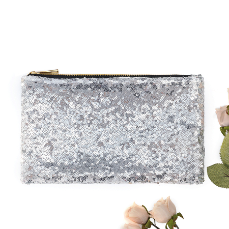 Silver Sequins Embellished Clutch Bags