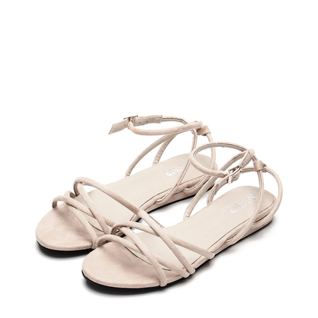Apricot Suede Look Strap Cross Flat Sandals