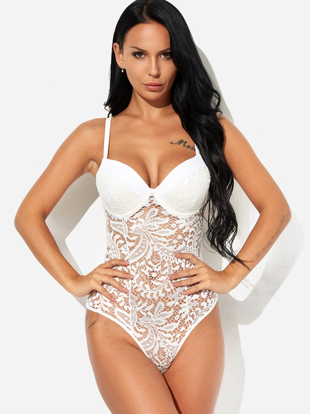White V-neck Padded Design With Underwire Lace Teddy