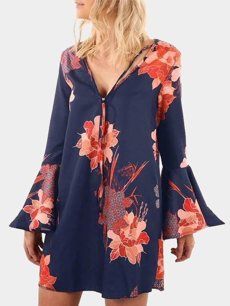 Random Floral Print V-neck Long Sleeves Dress