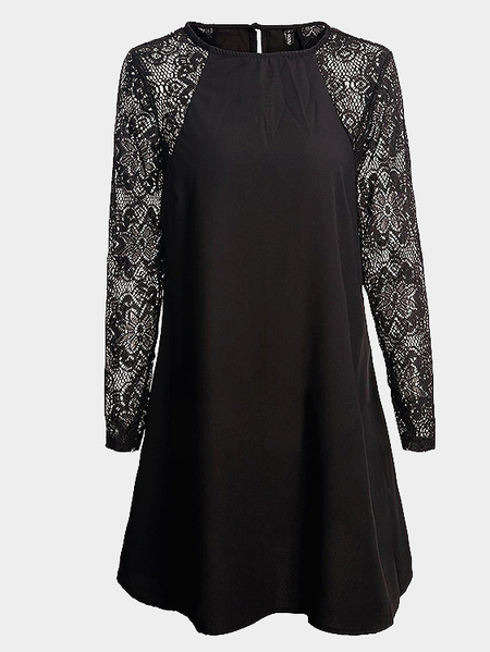 Black Long sleeves Dress With Lace Details
