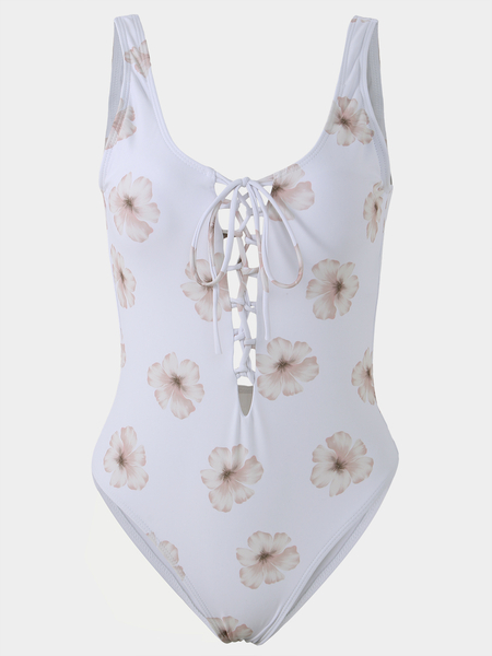 White Lace-up Design Floral Print Swimsuit