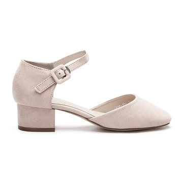Pink Suede Look Round Toe Ladies Heels