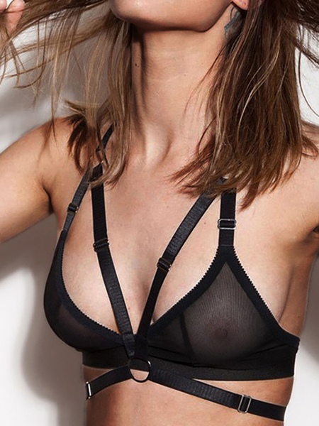 Black Mesh See-through Strappy Design Bralette