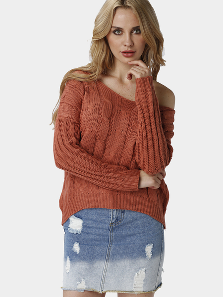 Orange Casual Crossed Back V-neck Jumper