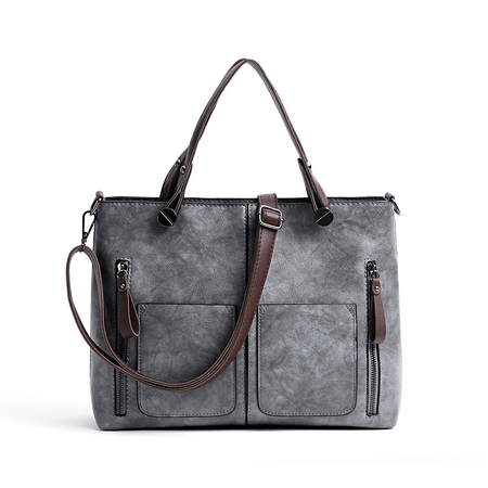 Grey Pockets Design Zip Crossbody Bag