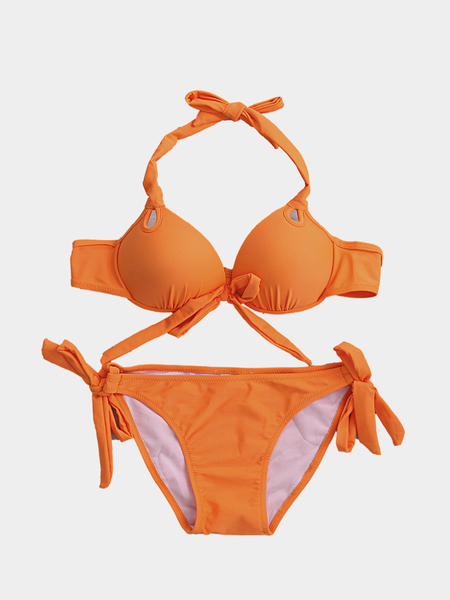 Orange Sexy Self-tie Swimwear With Padded Chest