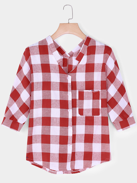 Red Grid Pattern V-neck 3/4 Length Sleeves T-shirts