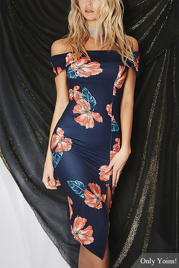Navy Random Floral Print Off Shoulder Robe Midi avec Splitted Hem