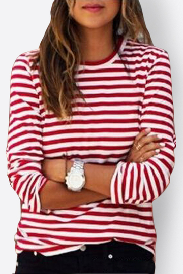 Stripe Pattern Red Neck Causal Thin T-shirt