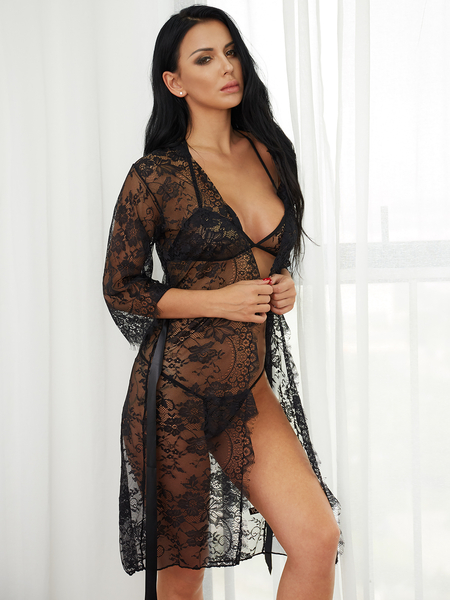 Black Sexy Lace Detail Self-tie Waisted Pajamas Dresses