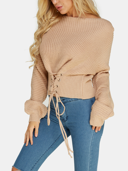 Apricot Lace-up Design Bateau Knitted Sweaters