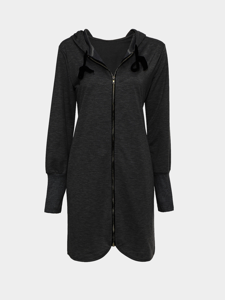 Black Longline Zip Front Plus Size Coat