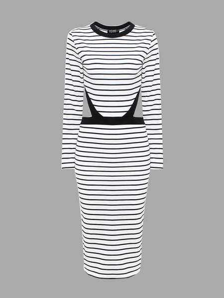 Striped Midi Dress with Cutout Waist