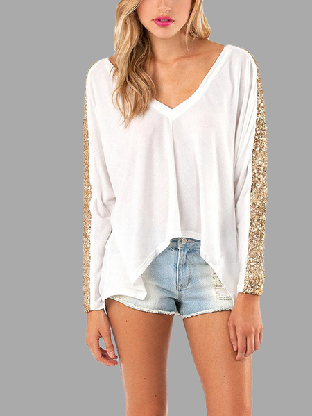 White Fashion Sequin Irregular hem Top
