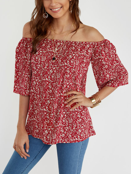 Floral Print Off The Shoulder Half Sleeves Blouse in Red
