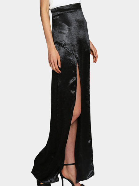 Black Silky Satin Front Splited Sexy Maxi Skirt