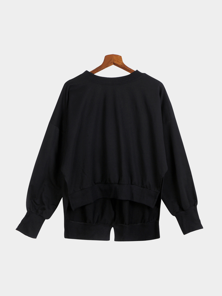 Black Loose Irregular Hem Lace-up Back Sweatshirt