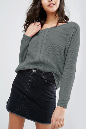 Grey Criss-cross Back Design V-neck Long Sleeves Knitted Sweaters
