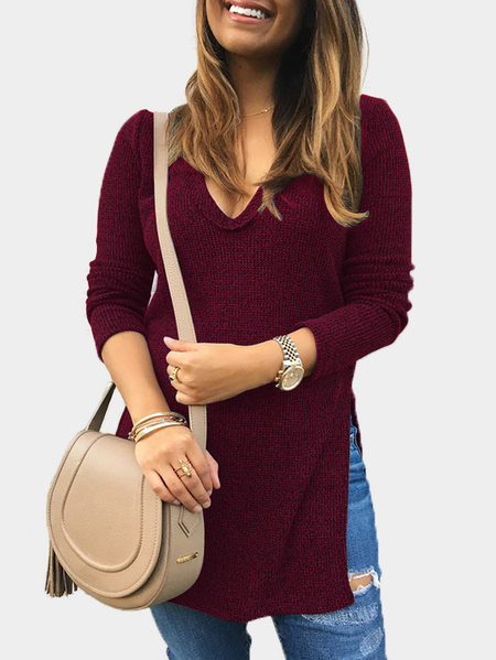 Burgundy Deep V-neck Long Sleeves Slit Hem Knitwear