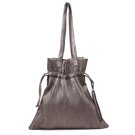 Sliver-grey Pleated Design Drawstring Shoulder Bag