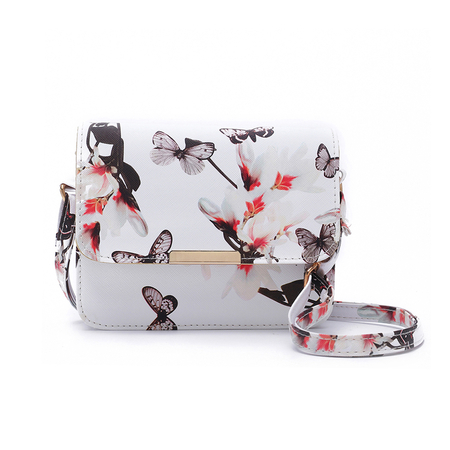 White Butterfly Printed Crossbody Bags