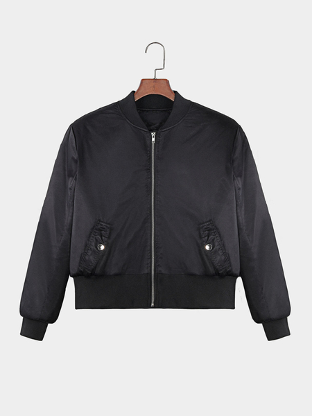 Black Long Sleeves Side Pockets Bomber Jacket