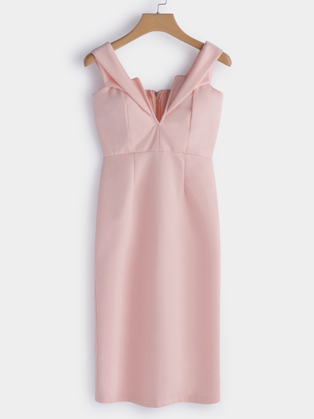 Pink Backless Off Shoulder V-neck Sexy Midi Dress