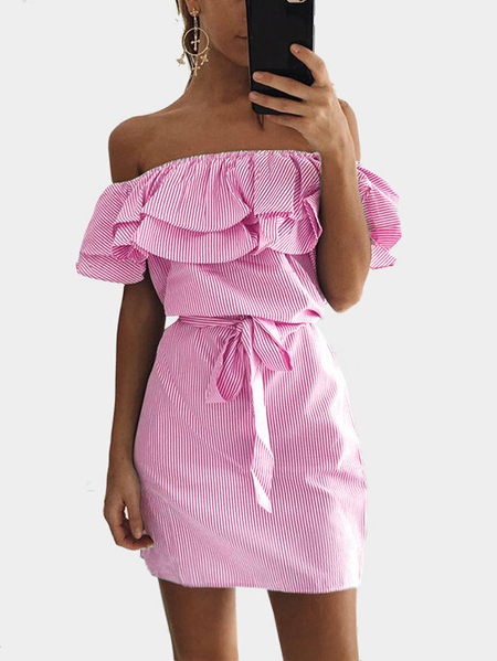 Pink Off Shoulder Stripe Pattern Flouncy Details Dress