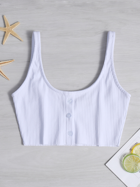White Backless Design Plain Scoop Neck Sleeveless Camis Top
