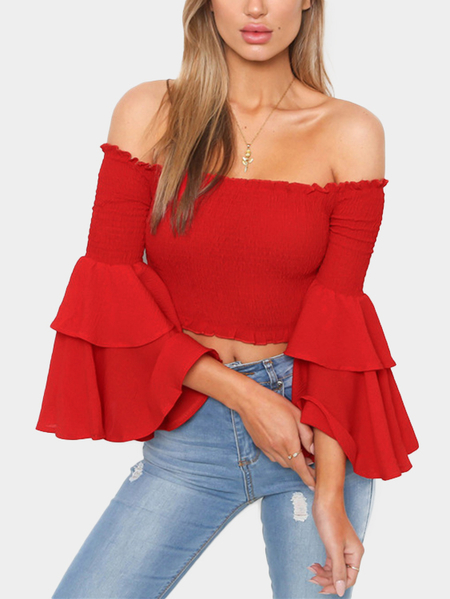 Red Off The Shoulder Bell Sleeves Crop Top