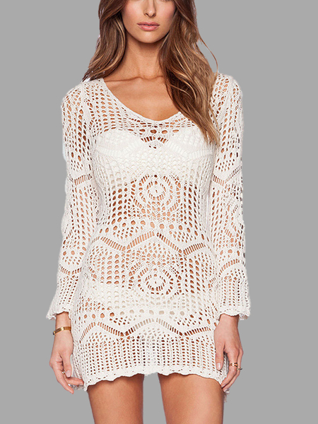 White See-Through Lace Crochet Dress