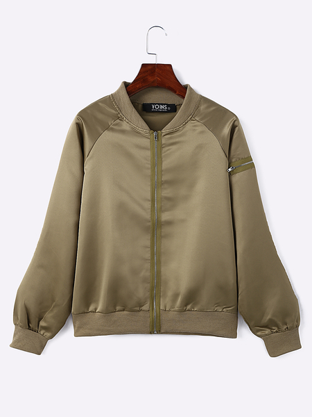 Khaki Casual Zipper Design Jacket