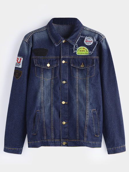 Dark Blue Embroidered Acid Wash Classic Collar Long Sleeve Men's Jean Jacket