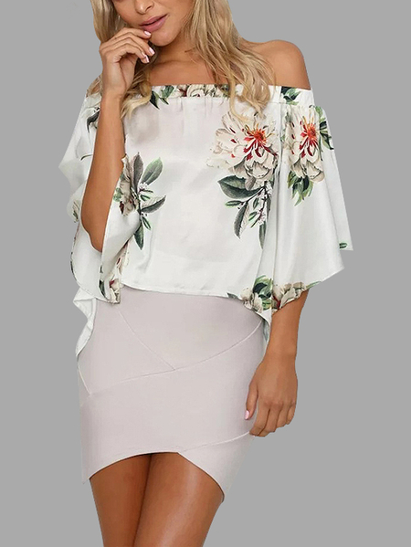 White Random Floral Print Off Shoulder Slit Design Blouse