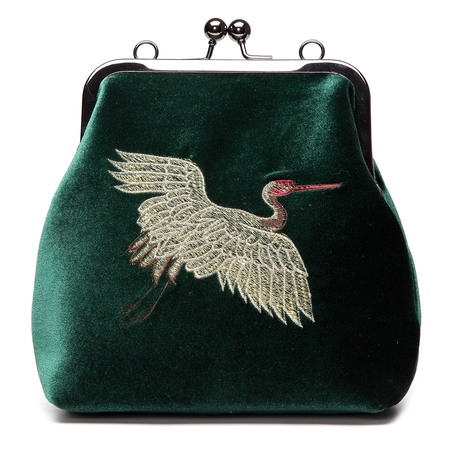 Green Velvet Animal Embroidery Across Body Bag with Braided Strap