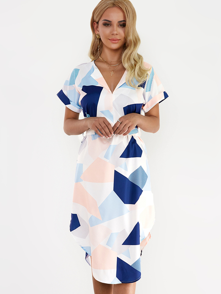 White Geometrical Pattern Round Neck manches courtes Drawstring Waist Dress
