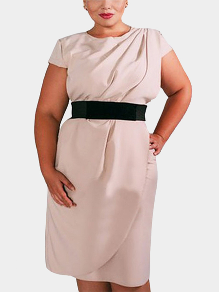 Plus Size Belted Pleated Kurzarm Kleid