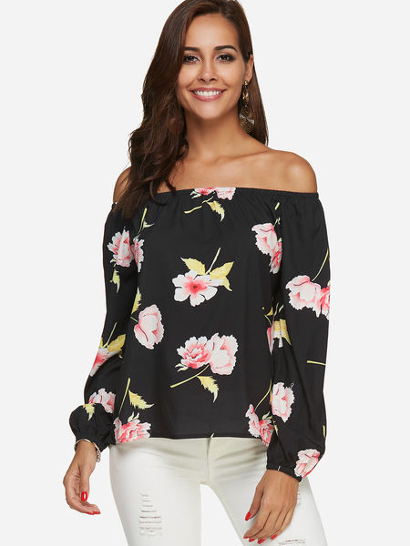 Black Random Floral Print Off The Shoulder Blouse