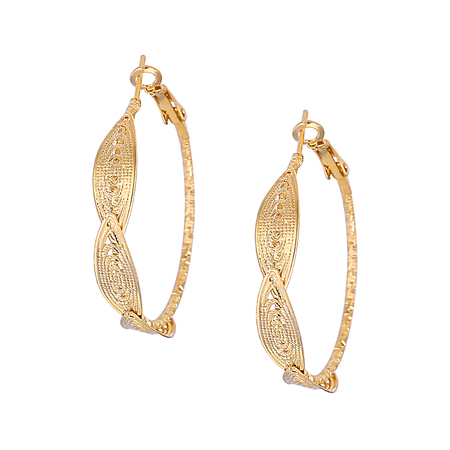 Gold Plated Single Circle Shape Hollow Out Earring Set
