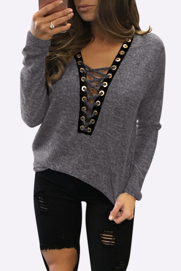 Sexy Deep V-neck Lace-up Front Casual T-shirts em Dark Grey