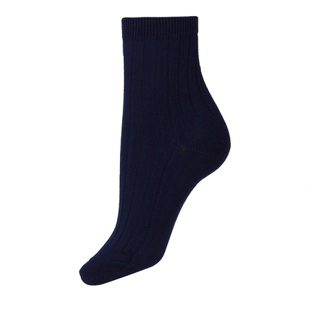 Navy Plain Rib Ankle Socks